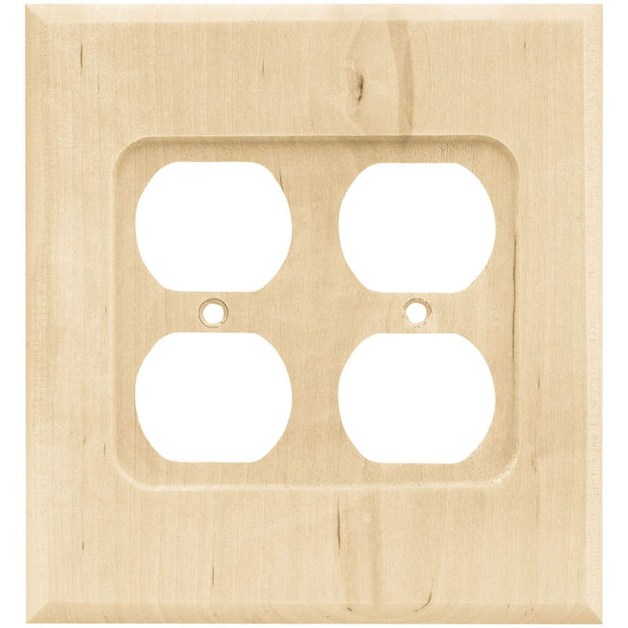 Brainerd Wood Square 2-Gang Light Wood Double Duplex Wall Plate