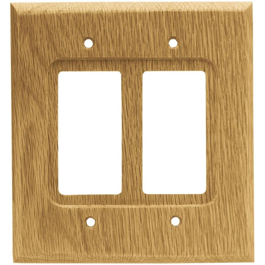 Brainerd Wood Square 2-Gang Medium Oak Double Decorator Wall Plate