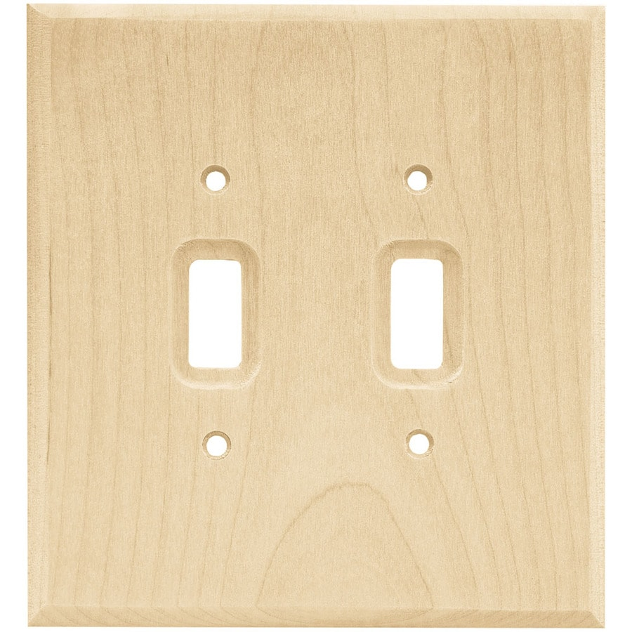 Brainerd Wood Square 2-Gang Light Wood Double Toggle Wall Plate