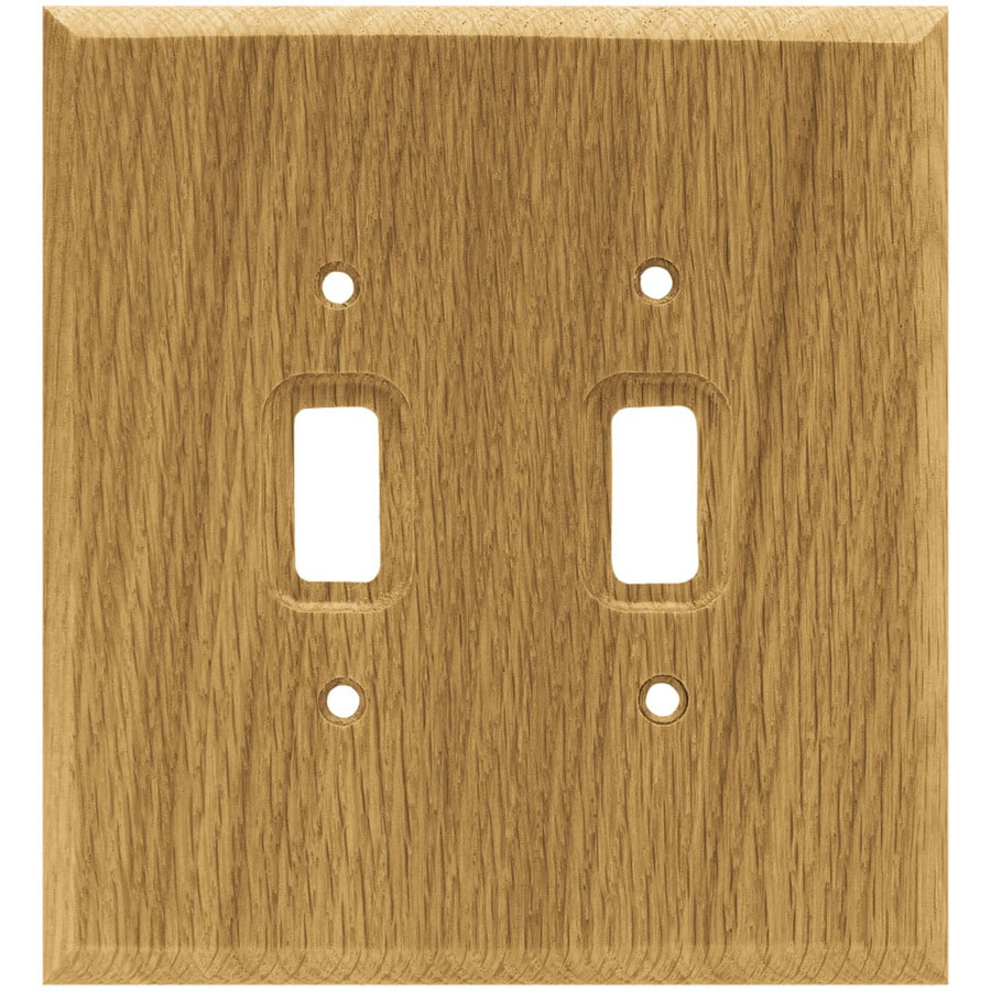 Brainerd Wood Square 2-Gang Medium Oak Double Toggle Wall Plate