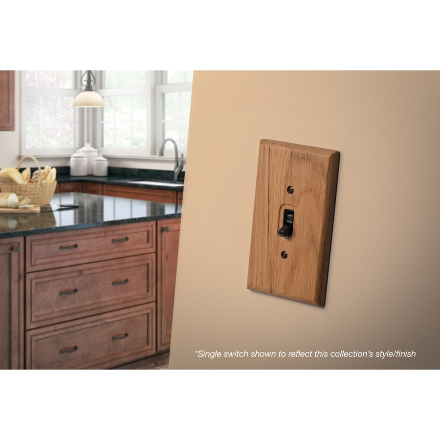 Brainerd Wood Square 1-Gang Medium Oak Single Toggle Wall Plate