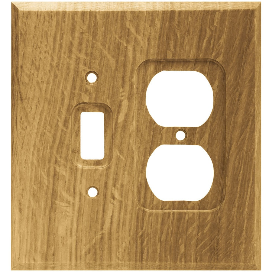 Brainerd Wood Square 2-Gang Medium Oak Single Toggle/Duplex Wall Plate