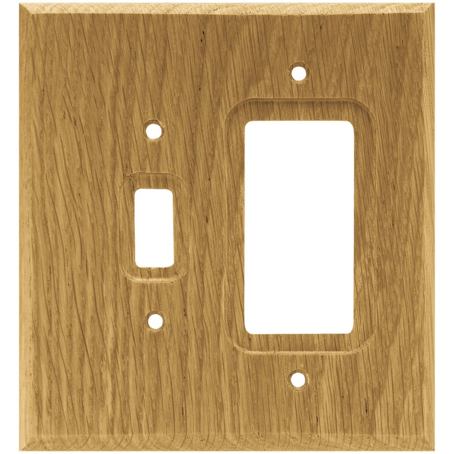 Brainerd Wood Square 2-Gang Medium Oak Single Decorator Wall Plate