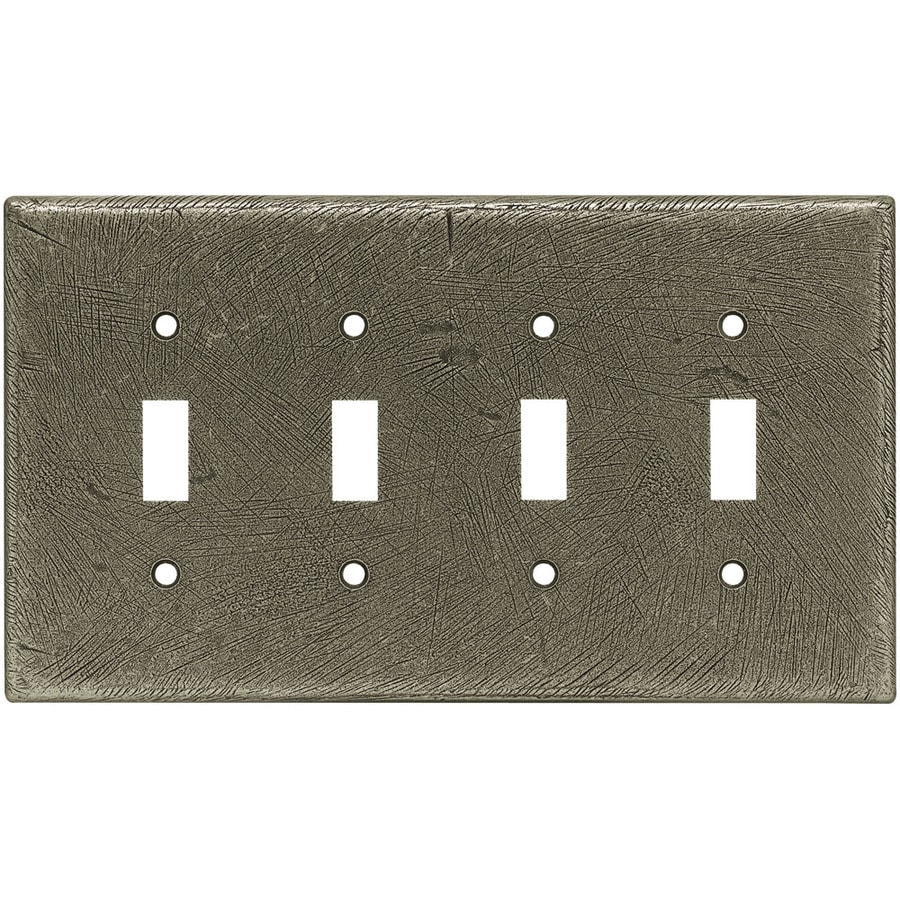 Brainerd 4-Gang Brushed Satin Pewter Toggle Wall Plate