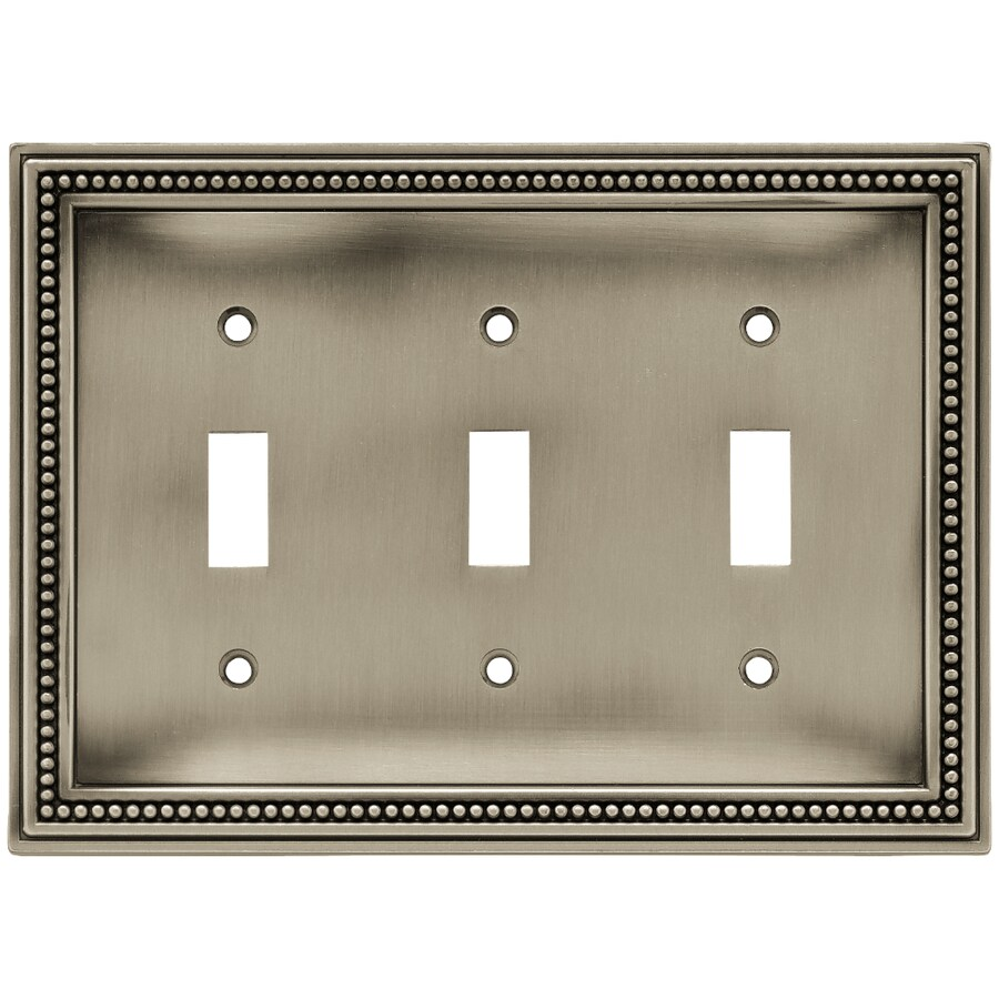 Brainerd Beaded 3-Gang Brushed Satin Pewter Triple Toggle Wall Plate