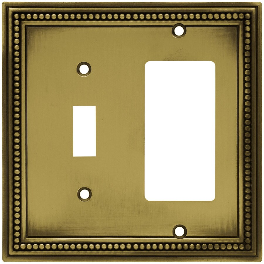 Brainerd 2-Gang Antique Brass Double Decorator Wall Plate