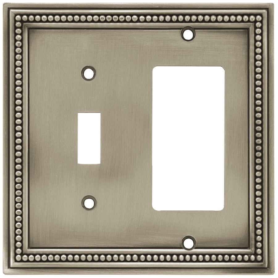 Brainerd Beaded 2-Gang Brushed Satin Pewter Single Toggle/Decorator Wall Plate