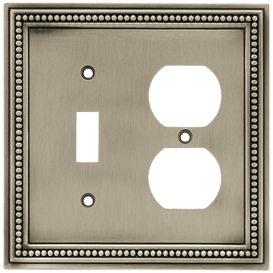 Brainerd Beaded 2-Gang Brushed Satin Pewter Single Toggle/Duplex Wall Plate