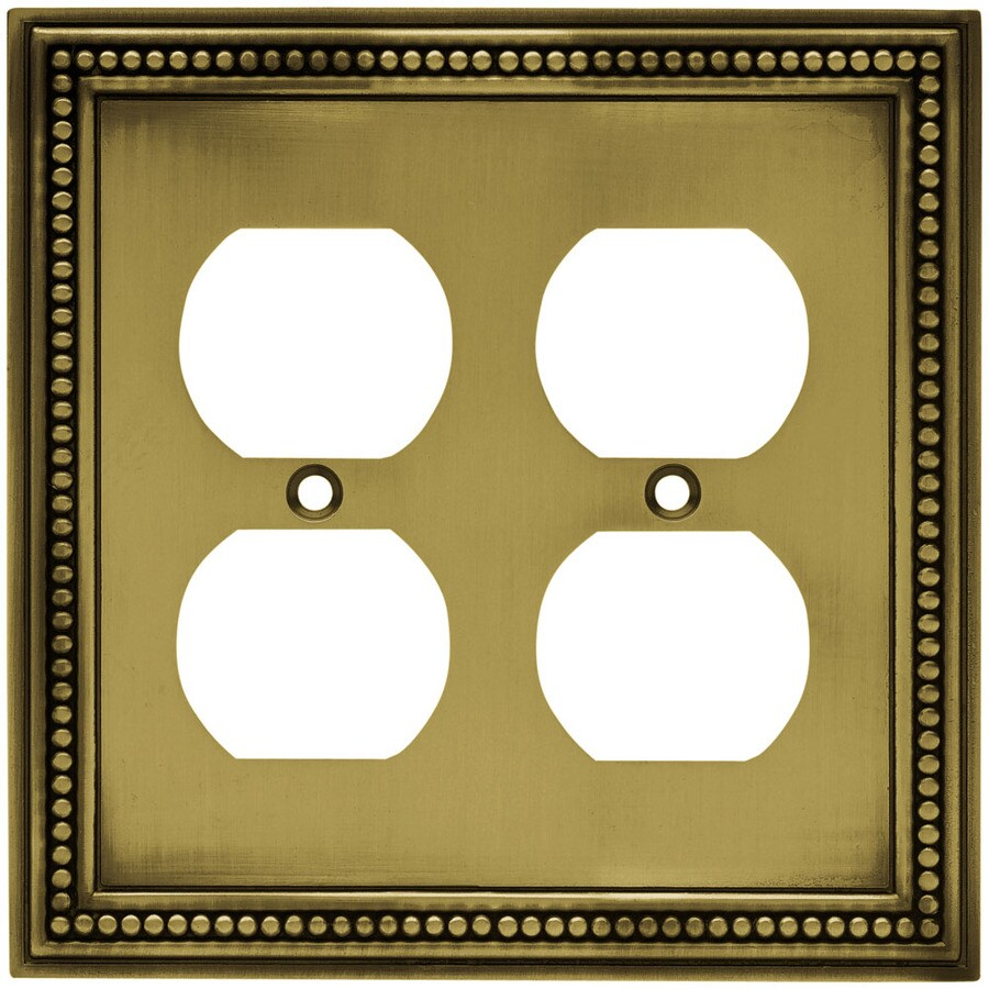 Brainerd 2-Gang Antique Brass Double Round Wall Plate