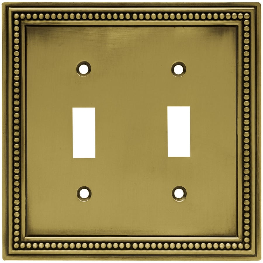 Brainerd 2-Gang Antique Brass Toggle Wall Plate