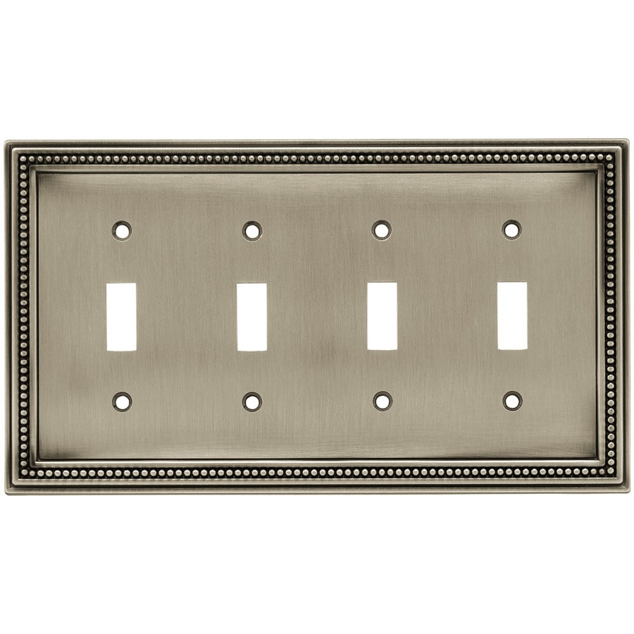 Brainerd Beaded 4-Gang Brushed Satin Pewter Quad Toggle Wall Plate