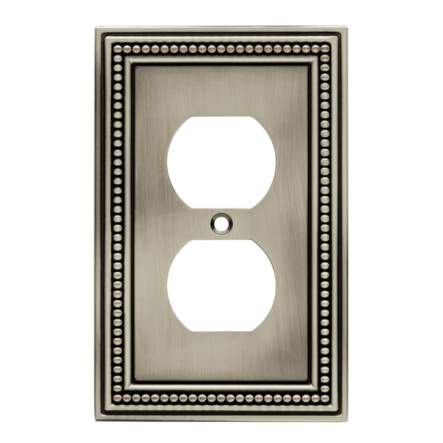 Brainerd Beaded 1-Gang Brushed Satin Pewter Single Duplex Wall Plate