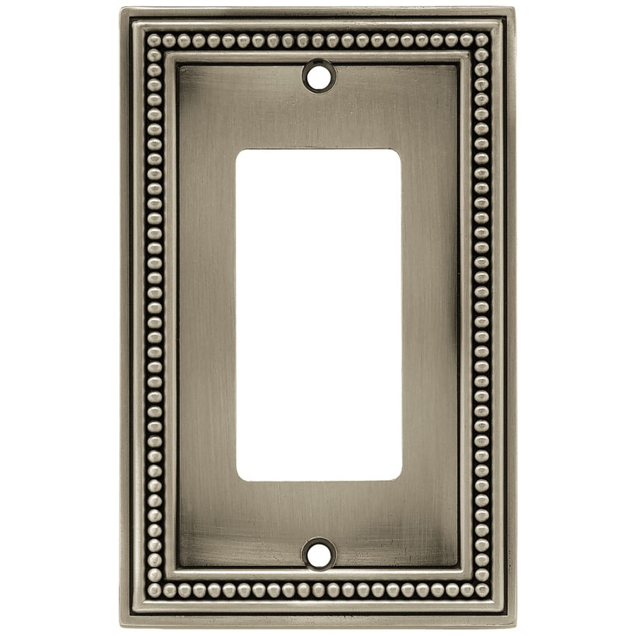 Brainerd Beaded 1-Gang Brushed Satin Pewter Single Decorator Wall Plate