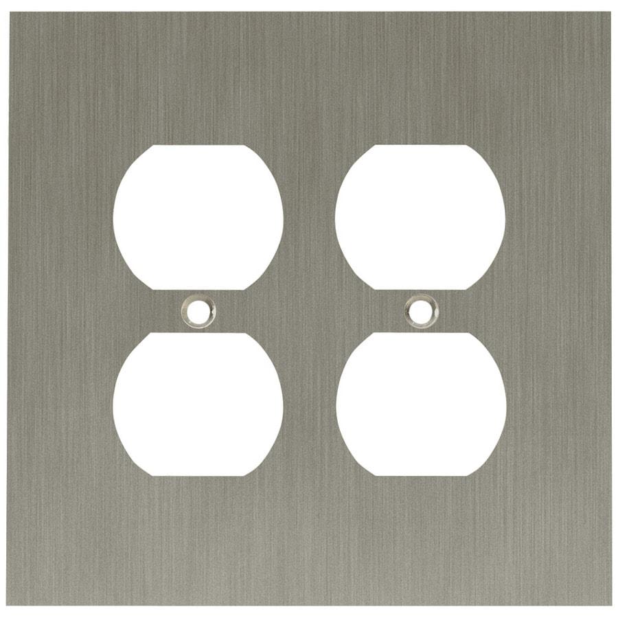 betsyfieldsdesign 2-Gang Brushed Nickel Plated Standard Duplex Receptacle Metal Wall Plate