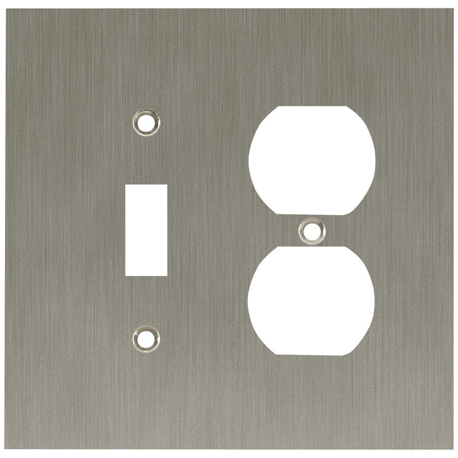 betsyfieldsdesign 2-Gang Brushed Nickel Plated Standard Duplex Receptacle Metal Wall Plate