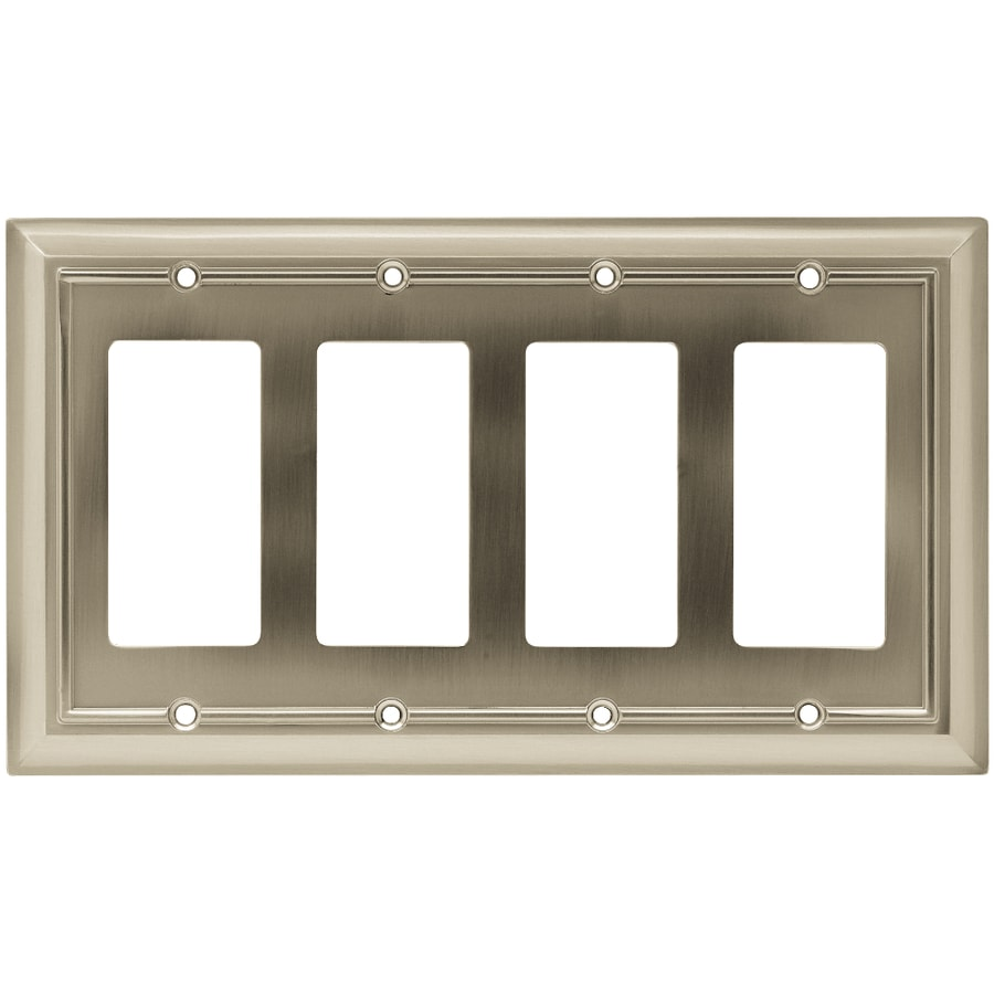 Brainerd 4-Gang Satin Nickel Decorator Rocker Metal Wall Plate