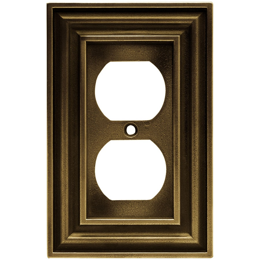 Brainerd 1-Gang Tumbled Antique Brass Toggle Wall Plate