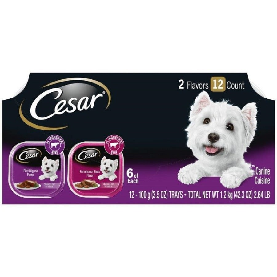CESAR 12-Pack 3.5-oz Filet and Porterhouse Adult Dog Food Variety Pack