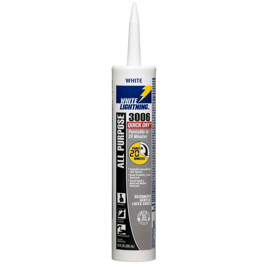 Shop White Lightning 10 Fl Oz White Paintable Caulk At