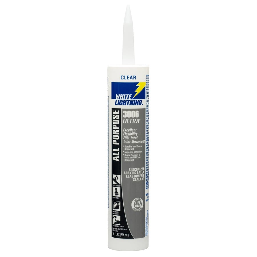 White Lightning 10-fl oz Clear Paintable Siliconized Acrylic Window and Door Caulk