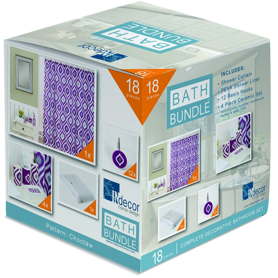 INdecor home design Choctaw Geometric Purple/Grey Ceramic Bathroom Coordinate Set
