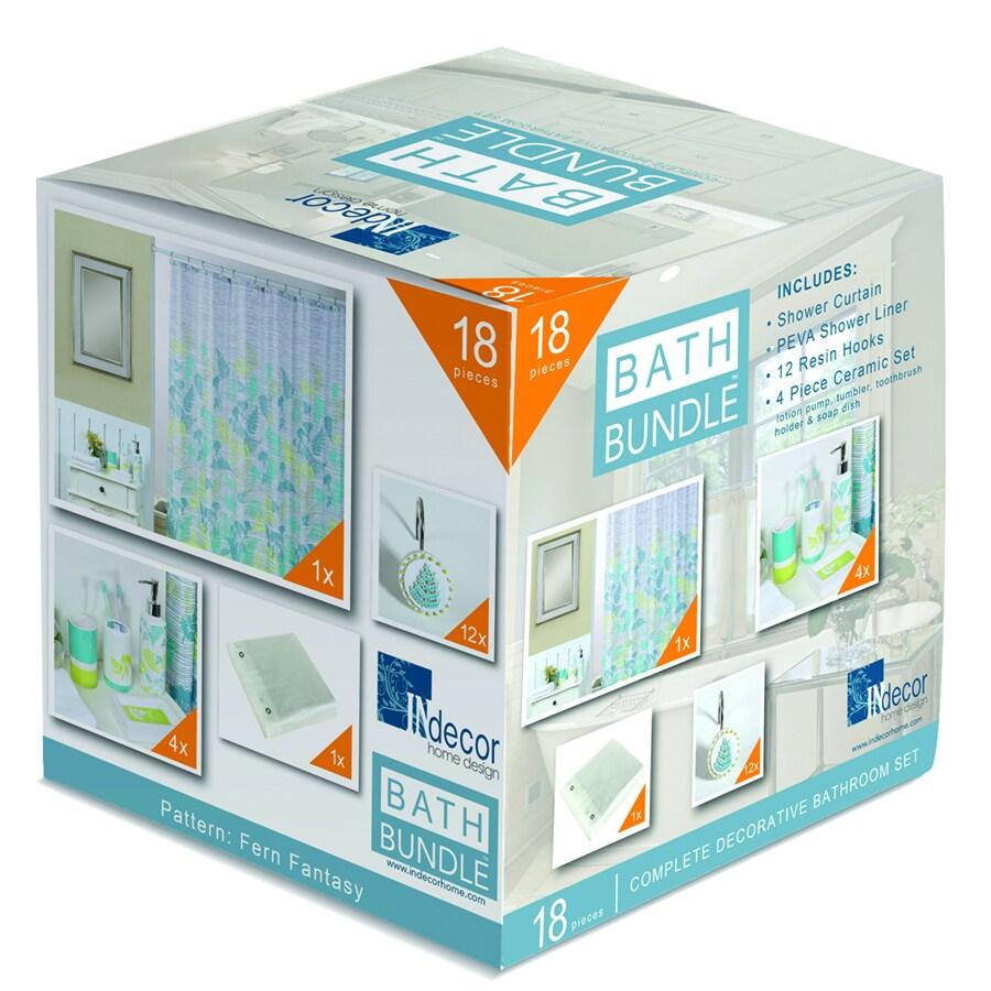 INdecor home design Fern Fantasy Floral Blue Ceramic Bathroom Coordinate Set