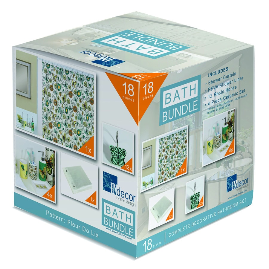 INdecor home design Flutter Pattern Blue/Green Ceramic Bathroom Coordinate Set