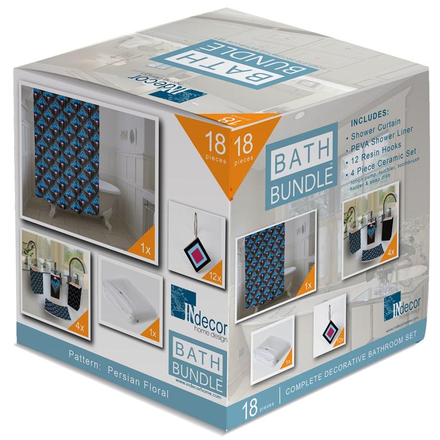 INdecor home design Persian Floral Sky Blue Ceramic Bathroom Coordinate Set