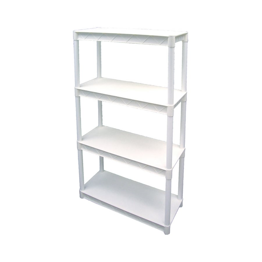 Plano 56-1/4-in H x 34-1/4-in W x 14-1/4-in D 4-Tier Plastic Freestanding Shelving Unit