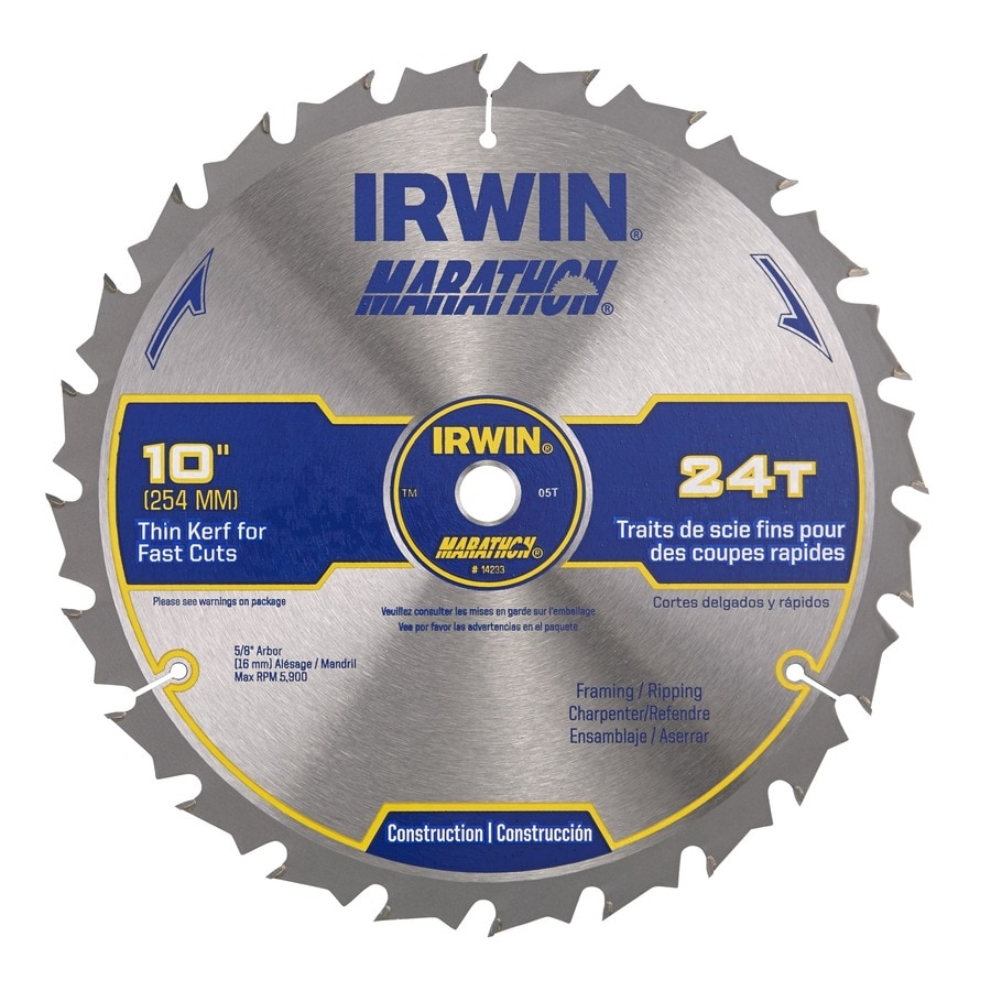 IRWIN Marathon 10-in 24-Tooth Standard Tooth Carbide Circular Saw Blade