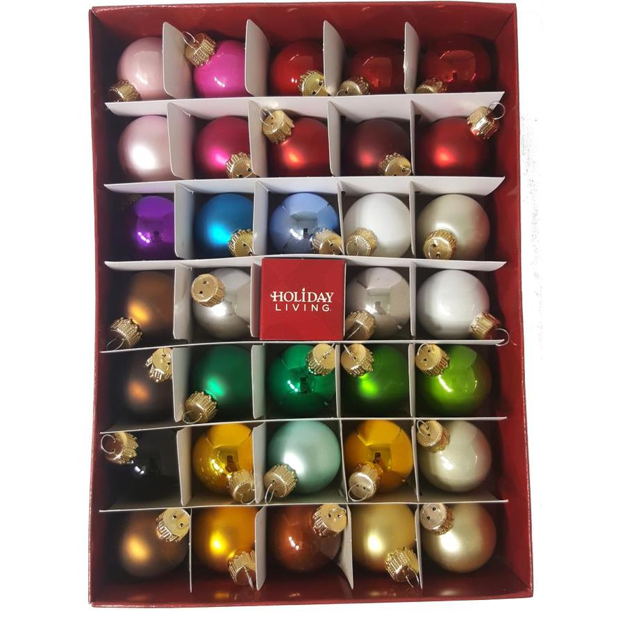 Holiday Living 34-Pack Multiple Colors And Shiny Ornament Set