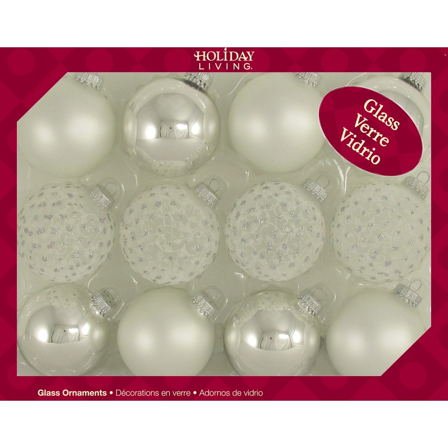 Holiday Living 12-CT Silver Lace Trimset Ornaments