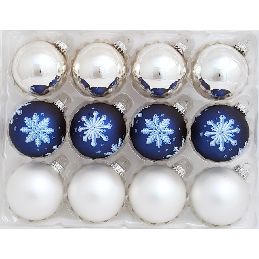 Holiday Living 12-Pack Blue and White Shiny and Matte Ornament Set