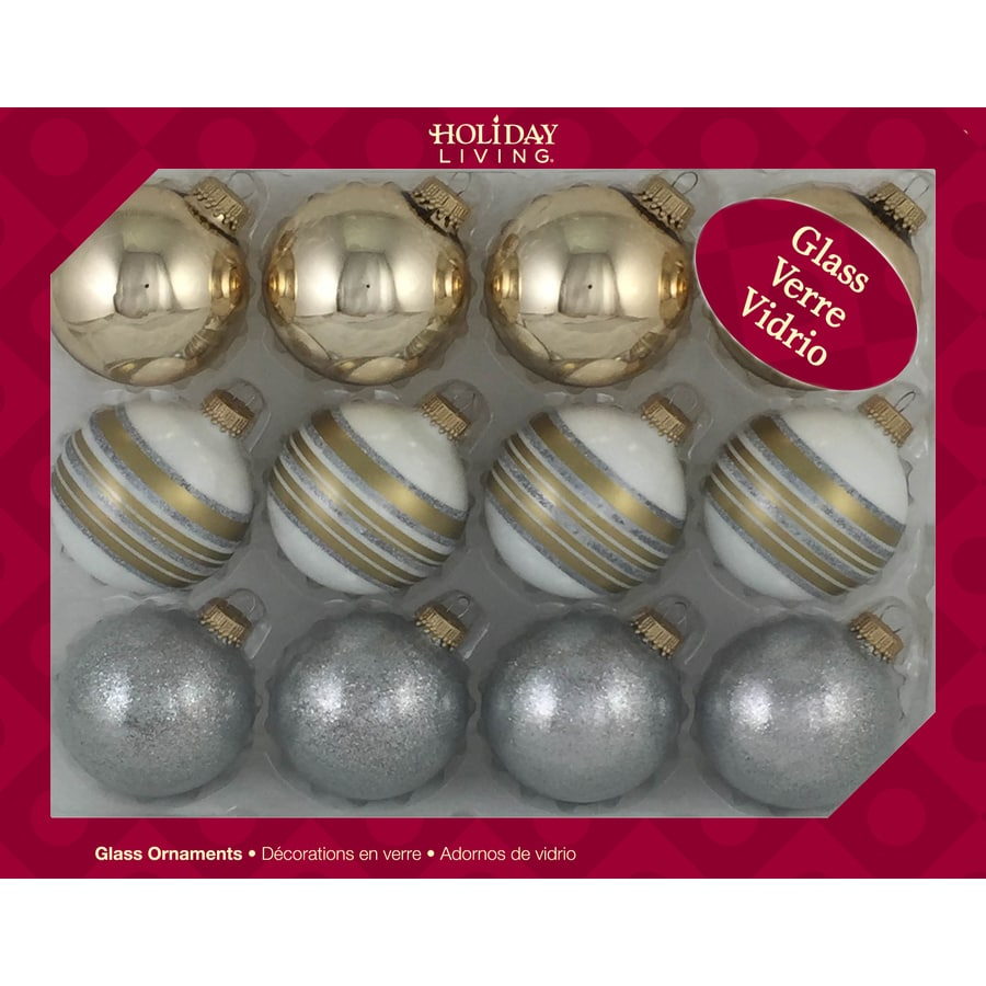 Holiday Living 123-CT Gold , Silver and White Stripe Ornaments