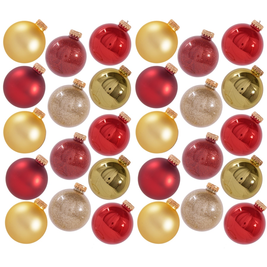 Holiday Living 28-Pack Red And Gold Shiny And Matte Ornament Set