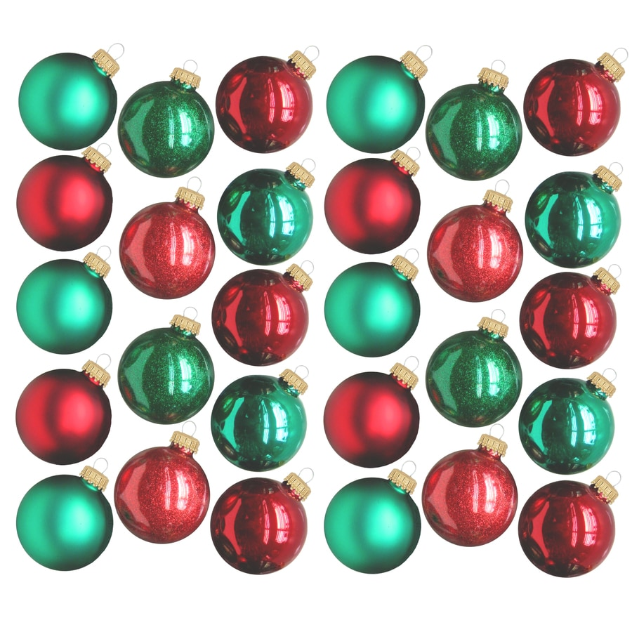 Holiday Living 28-Pack Red And Green Shiny And Matte Ornament Set