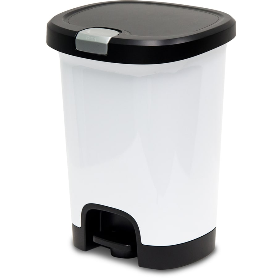shop hefty select line 7 gallon white plastic touchless trash can with lid at. Black Bedroom Furniture Sets. Home Design Ideas