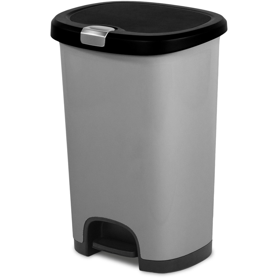 shop hefty select line 12 8 gallon silver plastic touchless trash can with lid at. Black Bedroom Furniture Sets. Home Design Ideas