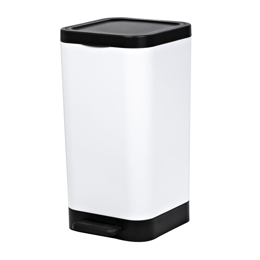 Hefty 2.65-Gallon White Plastic Trash Can with Lid