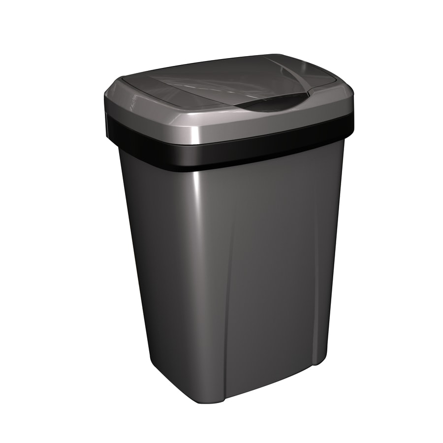Hefty 13-Gallon Stainless with Black Trim Plastic Trash Can with Lid