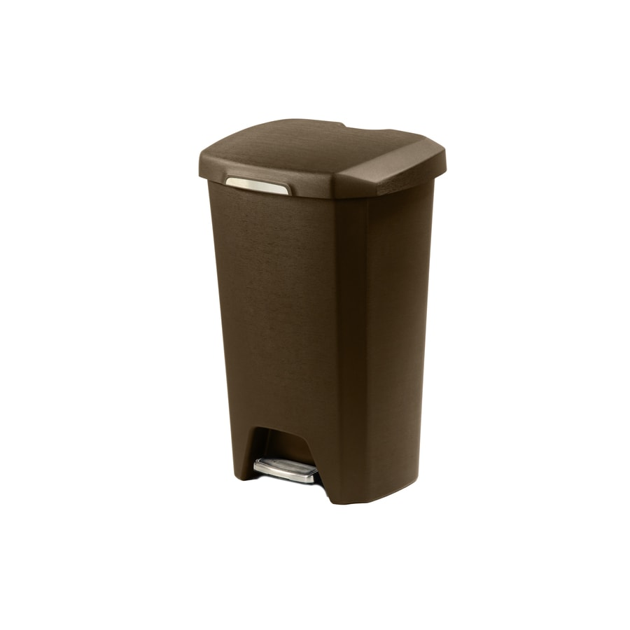 Hefty Premium Step-On 12.3-Gallon Bronze Plastic Touchless Trash Can with Lid