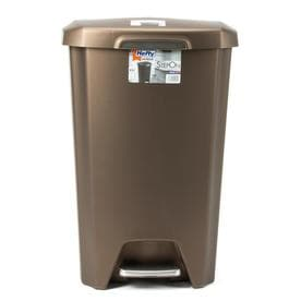 Hefty Premium Step On 12.25 Gallon Bronze Plastic Step Soft Close Trash Can