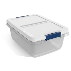 Hefty 3.75-Gallon (15-Quart) Clear Base with White Lid Tote with Latching Lid