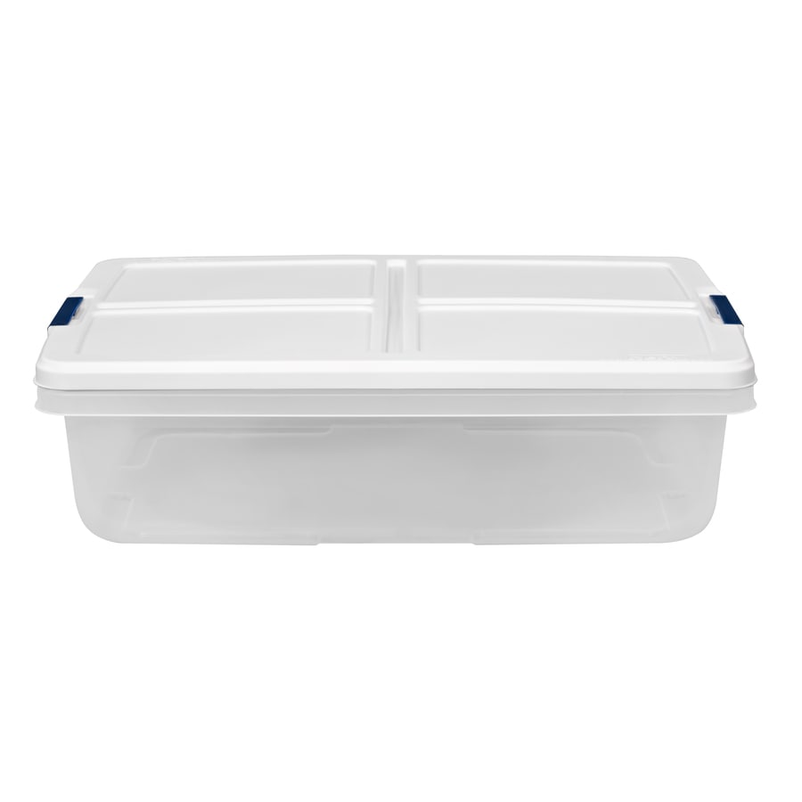 Hefty 8 5 Gallon 34 Quart Clear Base With White Lid Tote With Latching Lid In The Plastic Storage Totes Department At Lowes Com