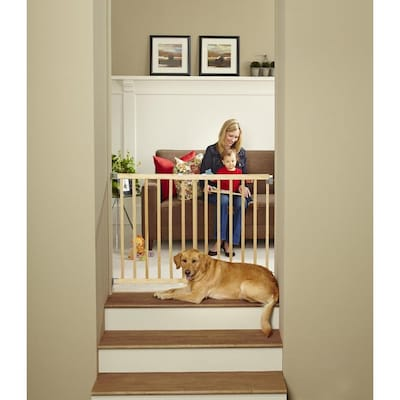 Stairway Swing Gate 42 In X 30 In Natural Wood Wood Safety Gate