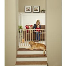 North States Industries, Inc. Stairway Swing Gate 42-in x 30-in Natural Wood Child Safety Gate