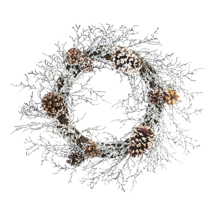 22-in Indoor White Pinecones Artificial Christmas Wreath