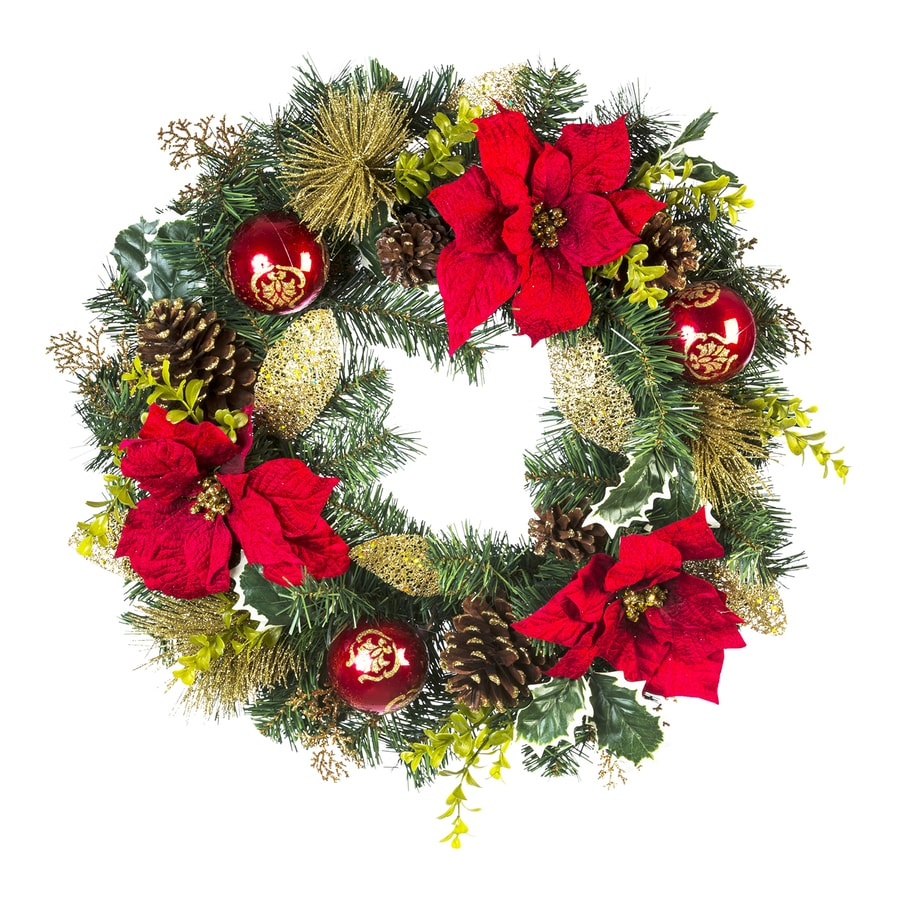 22-in Red Blossom Artificial Christmas Wreath