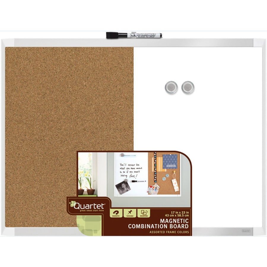 quartet 23in w x 175in h magnetic cork dry erase and bulletin