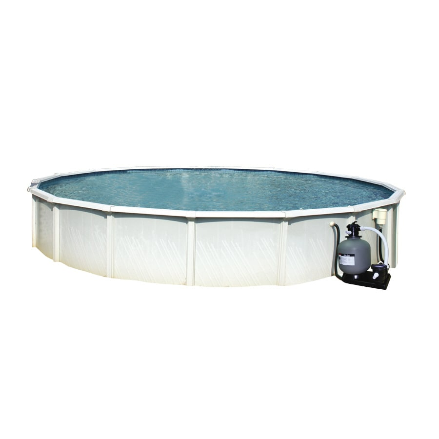 Shop aqua ez 24 ft x 24 ft x 52 in round above ground pool for 24 ft garden pool